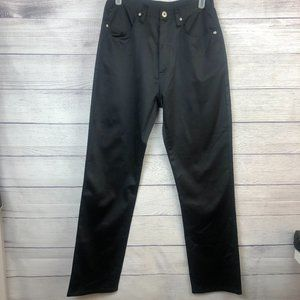Express Satin Jeans Black High Rise Straight Leg